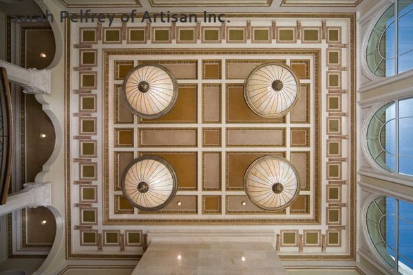Painted coffer ceiling